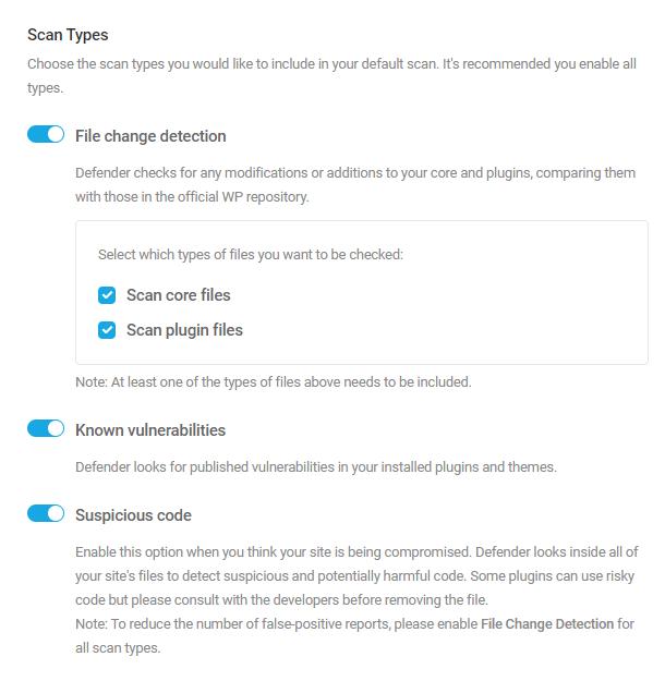 Defender Malware Scan settings