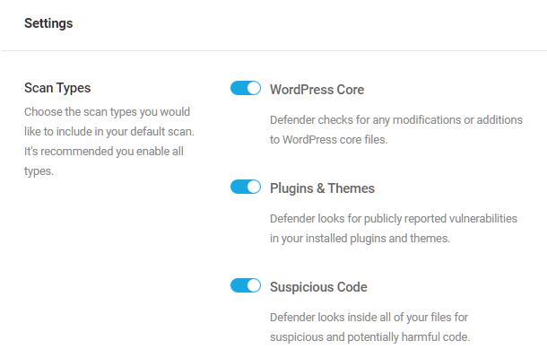 Malware scan settings in Defender Pro