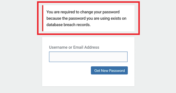 Pwned Password reset message on login form