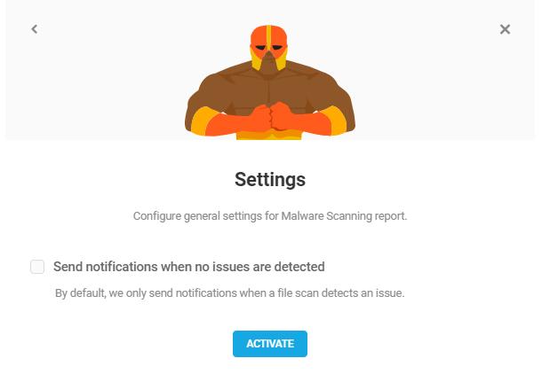 malware scanning report settings