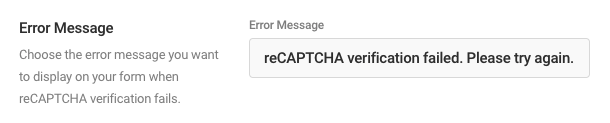 enter a custom message in the Error Message field.