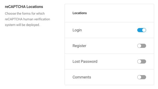 reCAPTCHA locations