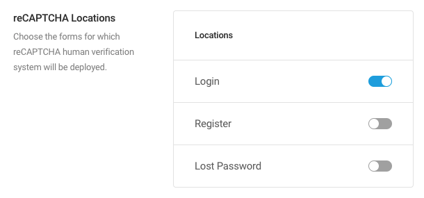 To enable/disable reCAPTCHA deployment for a form, click the associated toggle button.