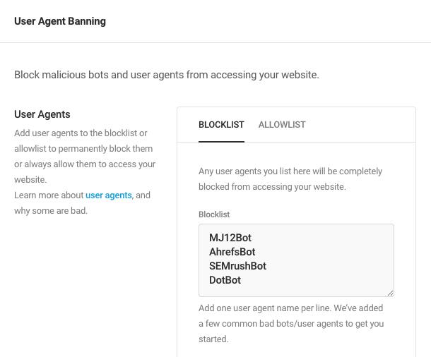 User agent allowlist/blocklist