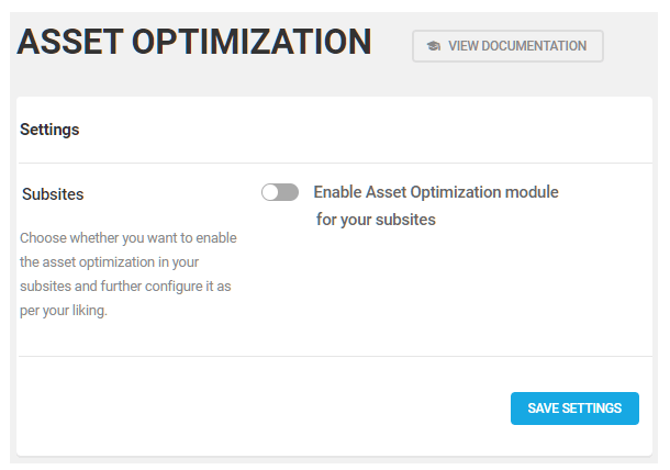 enable asset optimization on subsites