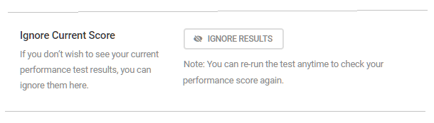 ignore current performance score settings