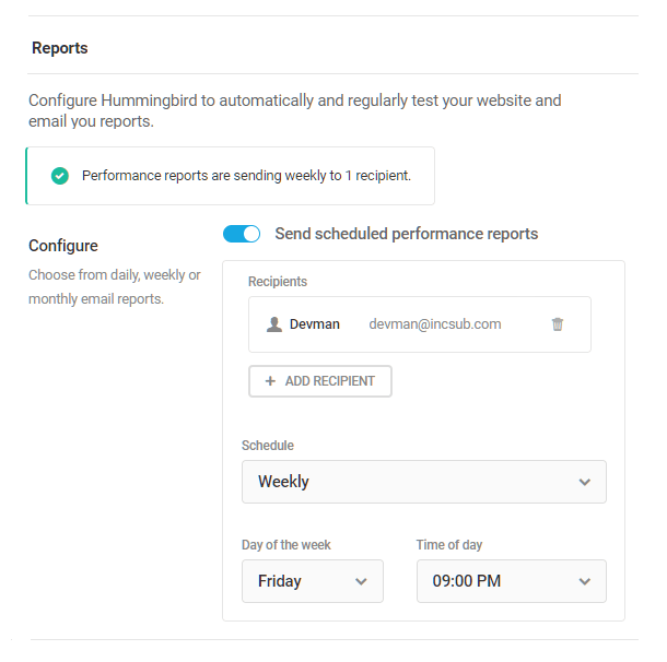 enable scheduled performance reports