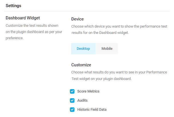 dashboard performance widget settings