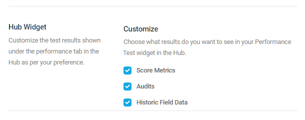 hub performance widget settings
