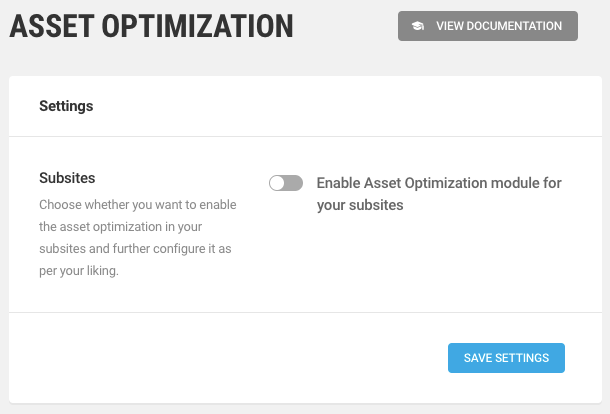 Assets Optimization Network Settings