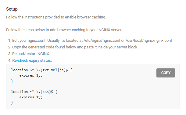 Configure browser caching on Nginx server