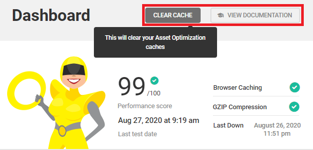 clear cache and view documentation buttons in dashboard