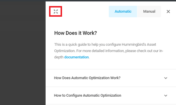 close automatic optimization how does it work panel