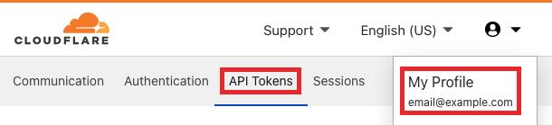 Select Cloudflare API Tokens tab