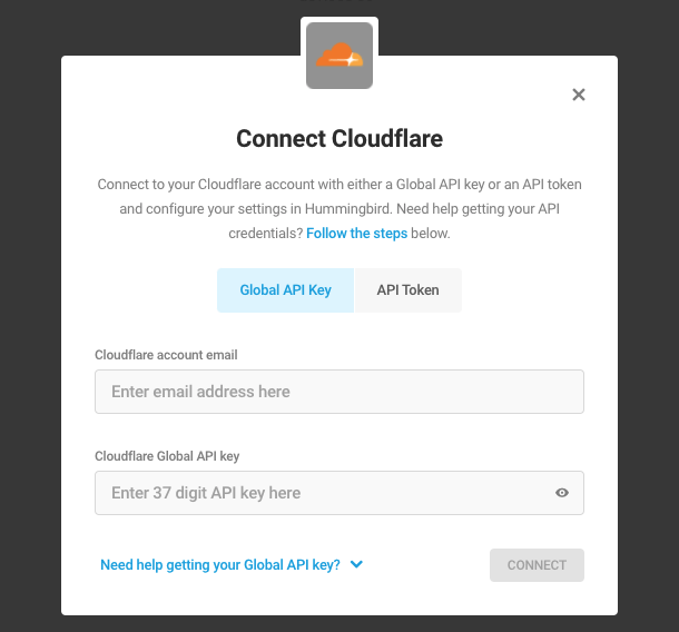 Connect Cloudflare modal window