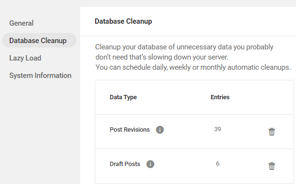 database cleanup settings