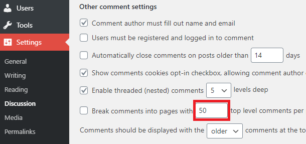 discussion settings for comment limit