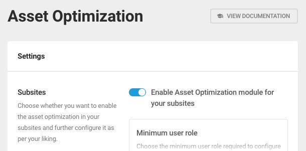 Enable asset optimization for subsites