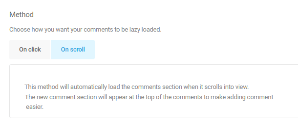 on scroll option for comment lazy load