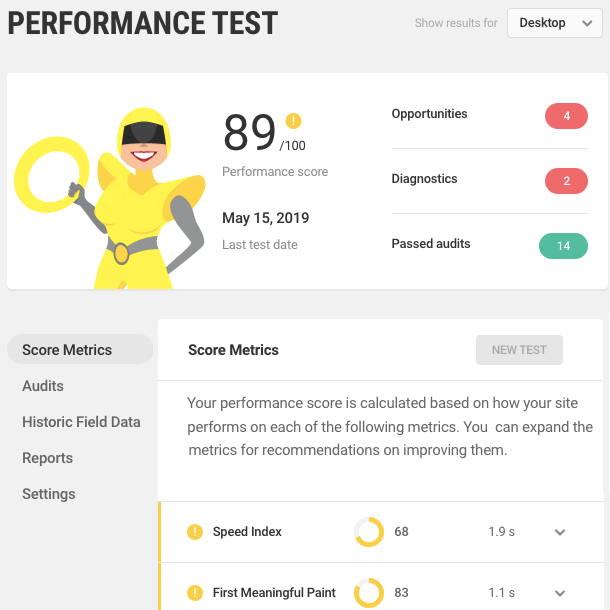 Performance test results