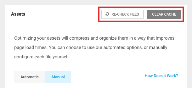 Recheck and Clear Cache buttons