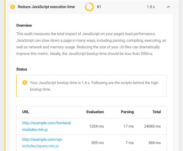 'reduce JavaScript execution time' audit