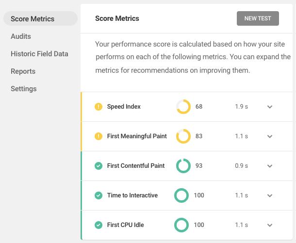 Score metrics