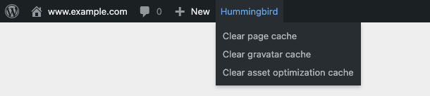 If Specific Cache is selected, then the Admin bar will include shortcuts to individually clear selected cache types.
