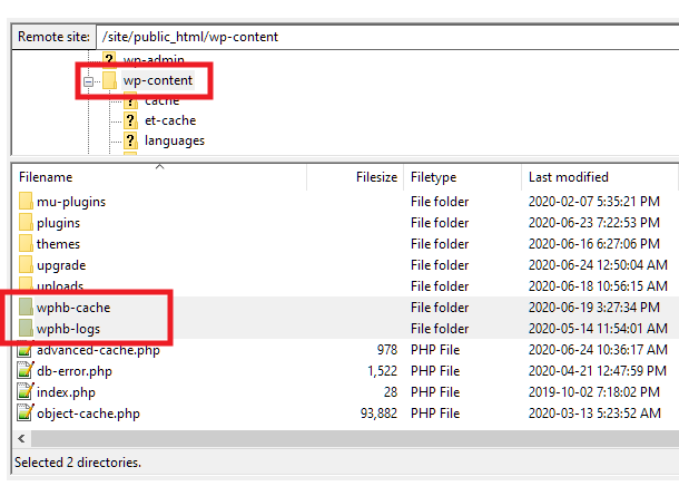 Location of cache and logs files