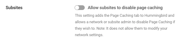 Enable page caching for subsites
