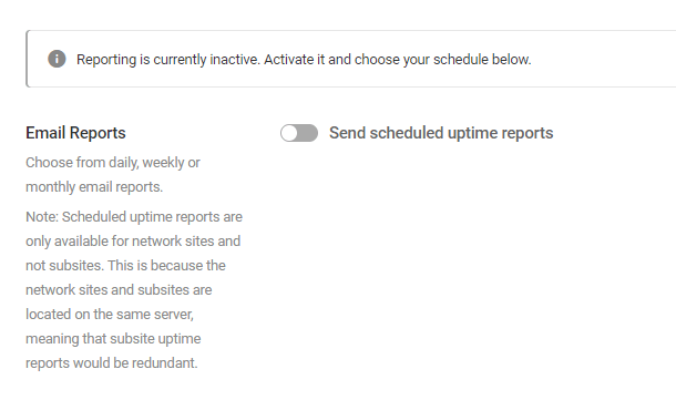 Uptime reporting in multisite