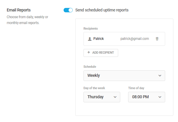 Create a schedule for Uptime reports