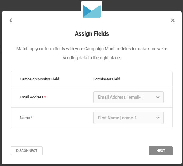 Match fields in Campaign Monitor integration with Forminator form