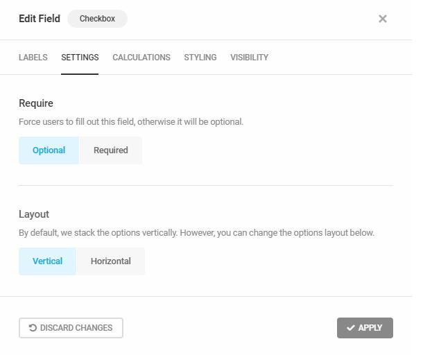 Edit Checkbox field settings in Forminator
