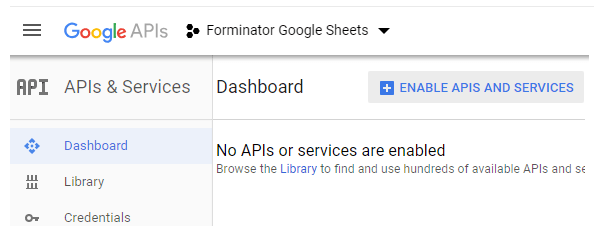 Enable APIs and services at Google