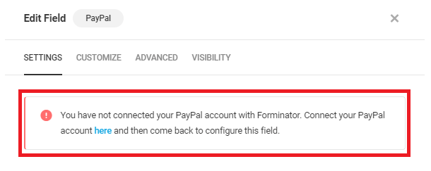Alert if no account connected in Forminator PayPal field