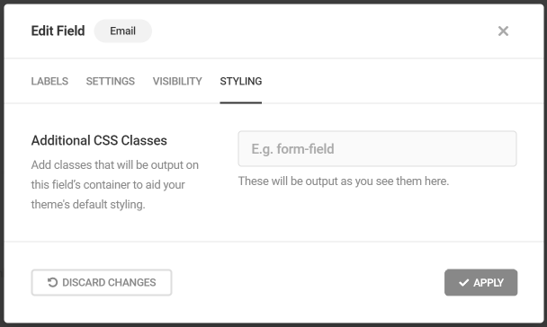 Add custom CSS classes to Forminator field