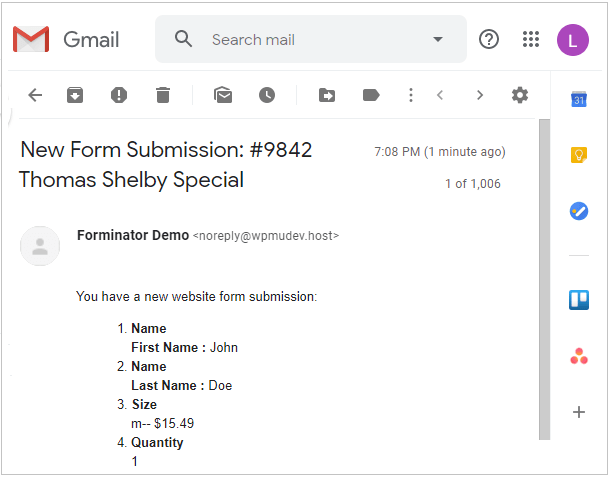 Example of Forminator notification email received with all field data
