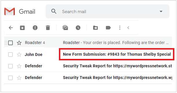 Example of Forminator form email subject line in Gmail