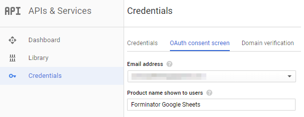 Oauth consent screen at Google