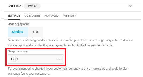 Select currency in Forminator PayPal field
