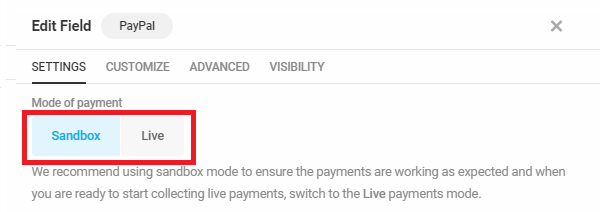 Select payment mode in Forminator PayPal field