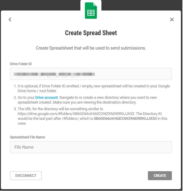Enter Google sheet details for integration in Forminator