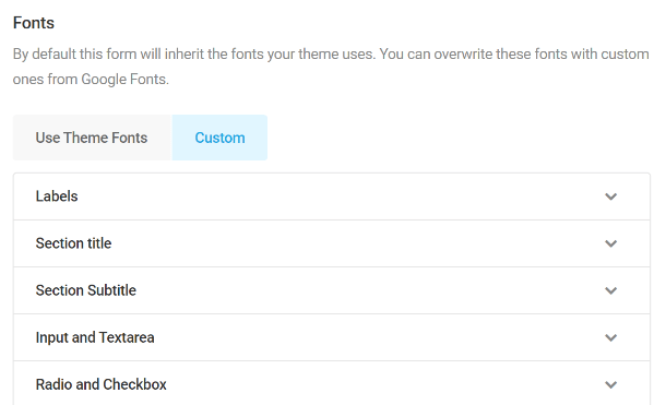 Customize fonts in Forminator forms
