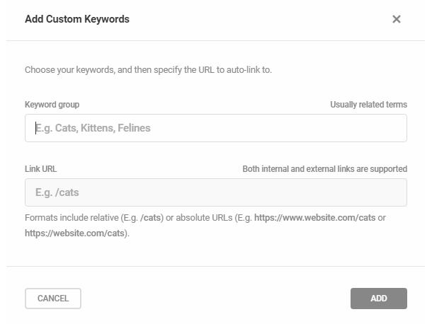 Configure custom keywords to auto-link in SmartCrawl