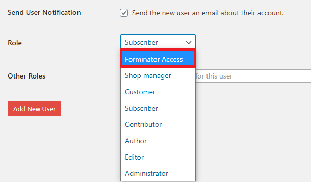 create new user for forminator