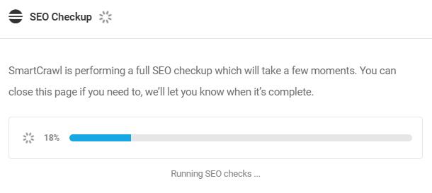 SEO Checkup progress indicator in Dashboard
