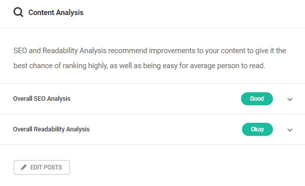 Content analysis in SmartCrawl dashboard