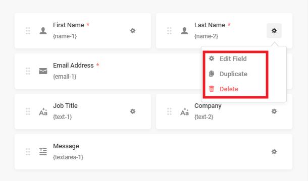 Edit, duplicate or delete fields in Forminator form