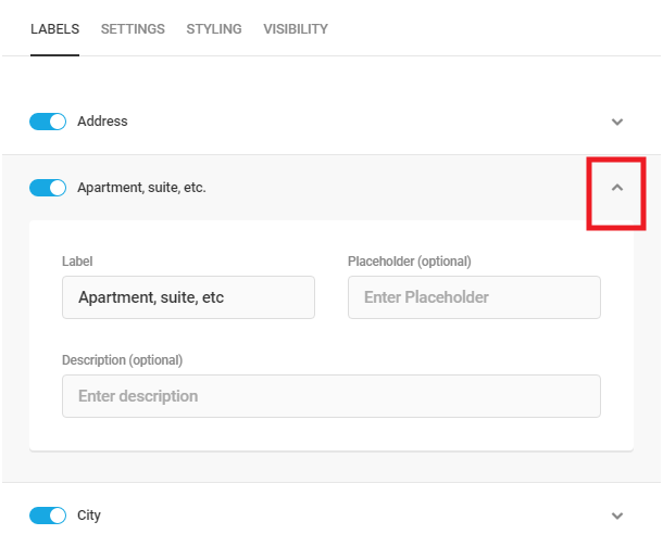 Edit Address subfield labels in Forminator